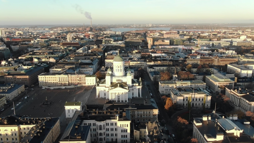 Magnificent view of the city center of Helsinki, flying around Helsinki Cathedral at dawn in autumn, panorama of the main attractions of the city. | Shutterstock HD Video #1040051297
