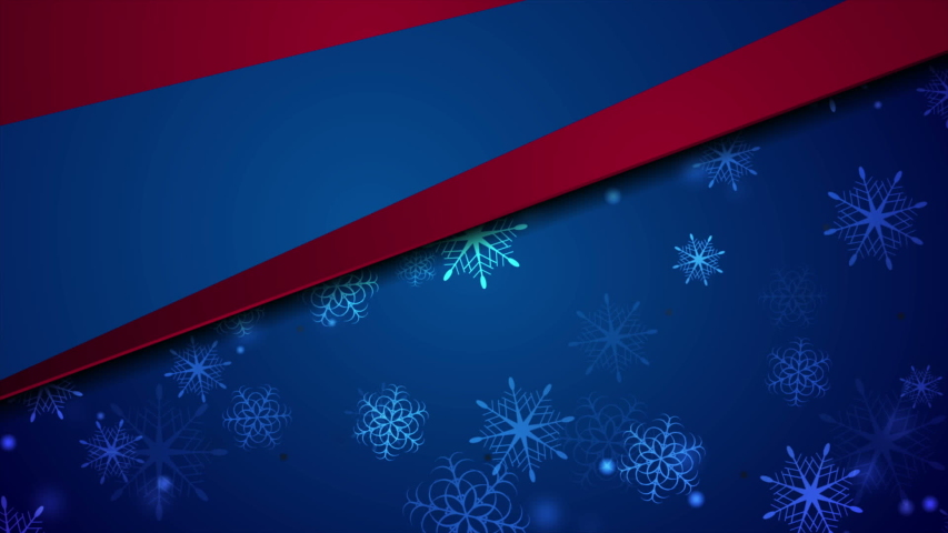 Blue and red abstract christmas snowflakes motion background seamless loop video animation ultra hd | Shutterstock HD Video #1040486837