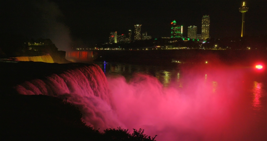 View of the beautiful Fireworks on Niagara Falls from the American side