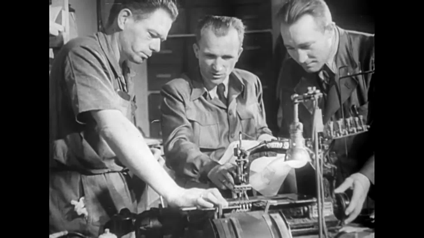 CIRCA 1940s - Germans produce an automatic sewing machine during World War 2 in this propaganda film