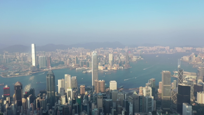 09 Oct 2019, View from Victoria Peak, a mountain in the western half of Hong Kong Island   Shutterstock HD Video #1040821217