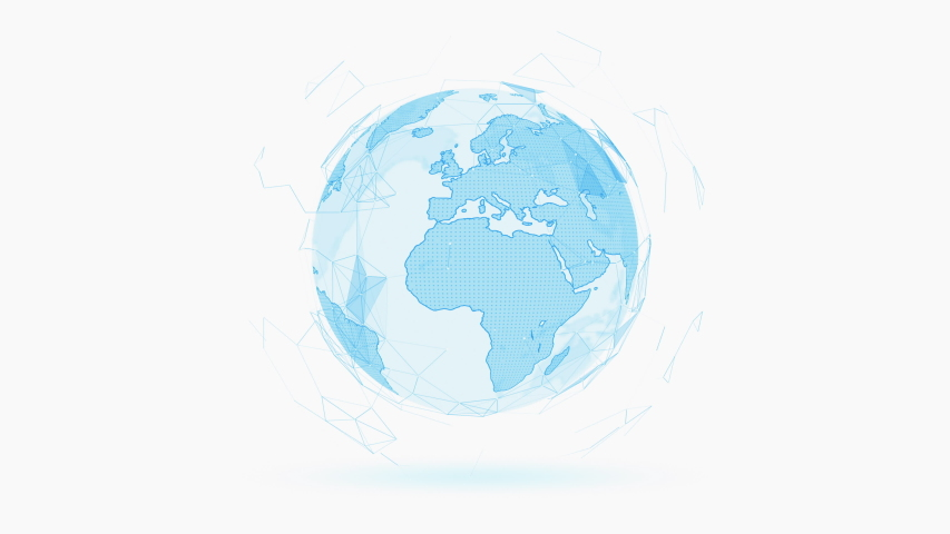 Blue Earth Plexus Rotating On White Background, Digital Communication Concept, 4k Seamless Loop. | Shutterstock HD Video #1040893007