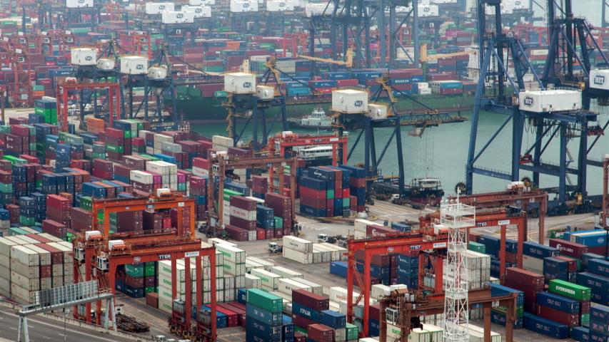 HONG KONG/CHINA - JUNE 10 2019: Timelapse cranes load cargo vessels in Hong Kong harbour | Shutterstock HD Video #1040919287