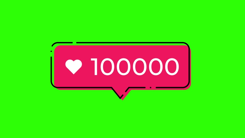 Likes counter going from 1 to 100000. Black outline with red shifted color. Green screen can be removed with color key effect to make transparent background. | Shutterstock HD Video #1040924147