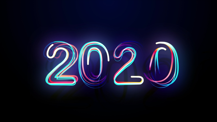 Conception 2020 Bright Multicolored Animation Numerals of the New Year Flicker and Glowing. Colored Neon Light Form Generated Circle and Wave Digits. Isolated Colorful Symbols Shape Date Sign Rays 4K