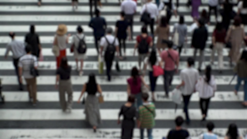 UMEDA, OSAKA, JAPAN - CIRCA SEPTEMBER 2019 : Aerial blurred high angle view of zebra crossing near Osaka train station. Crowd of people at the street. Shot in busy rush hour. Wide slow motion. | Shutterstock HD Video #1041098767