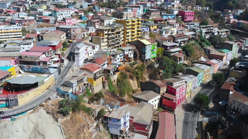 City on the hills, Colorful Houses, cottages (Valparaiso, Chile) aerial view | Shutterstock HD Video #1041121297