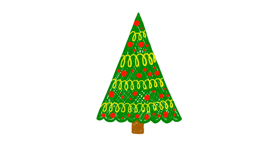Hand drawn Christmas tree animation | Shutterstock HD Video #1041137767