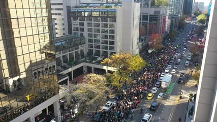 Climate Strike Protest Parade and March Streets of Vancouver Aerial Video Close