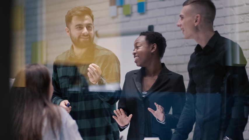 Happy successful multinational business team people building successful creative team concept | Shutterstock HD Video #1041274867