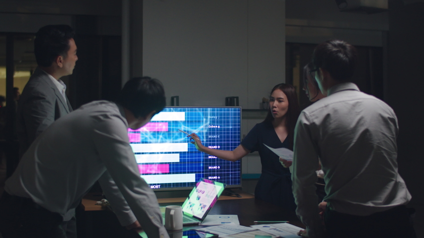 Asia businessmen and businesswomen meeting brainstorming ideas conducting business presentation project colleagues working together plan success strategy enjoy teamwork in small modern night office. | Shutterstock HD Video #1041450757