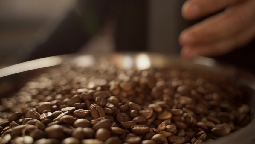 A man mixes different varieties of roasted coffee beans with his hands. Hands and coffee beans close-up.   Shutterstock HD Video #1041459457