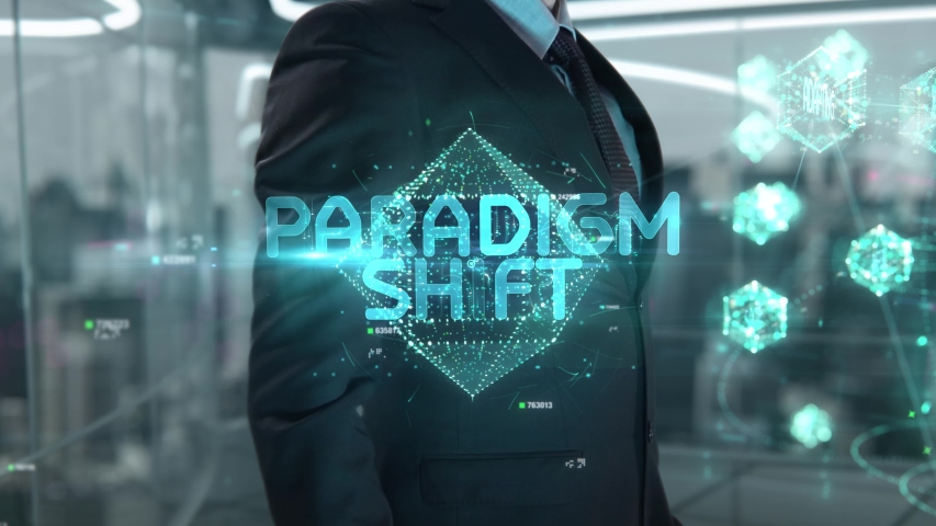 Businessman with Paradigm Shift hologram concept   Shutterstock HD Video #1041459487