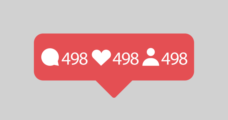 Animated comment, like and follower  icons with counting numbers for social media, videos, websites etc. No backgroud (Alpha channel). | Shutterstock HD Video #1041864337