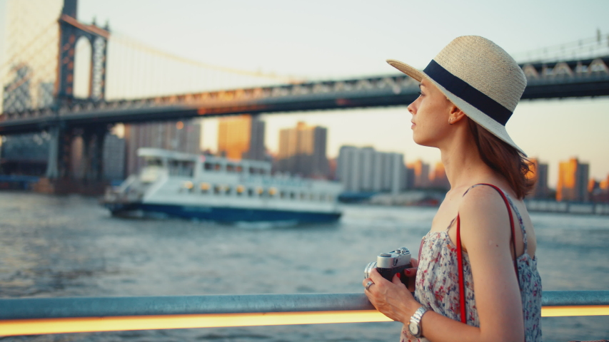 Young girl in New York City on vacation | Shutterstock HD Video #1042251667