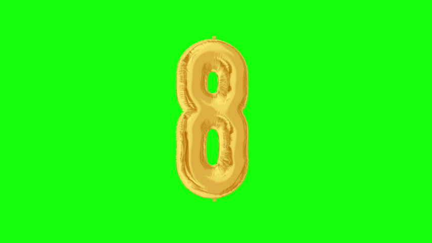 Gold foil number 8 eight on green screen for anniversary celebration, festival, decorations and happy birthday. 4K video. | Shutterstock HD Video #1042254727