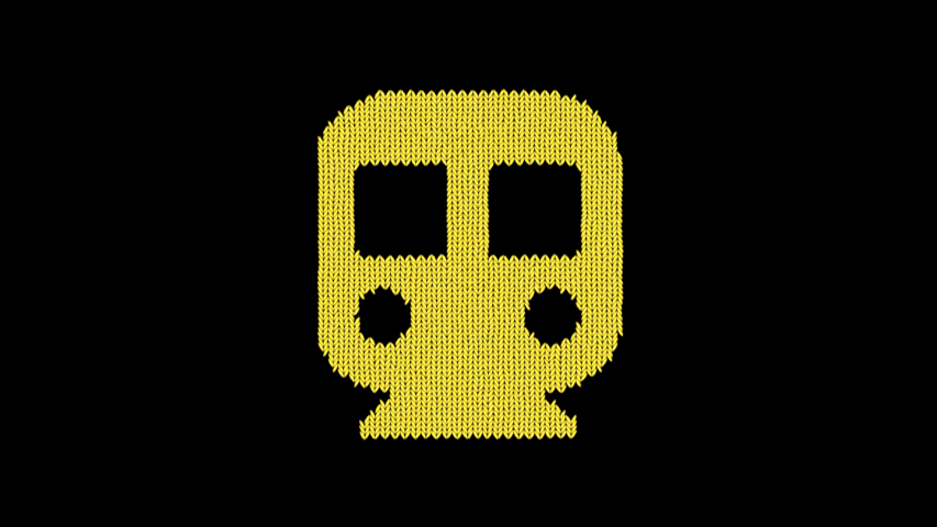 Symbol subway is knitted from a woolen thread. Knit like a sweater | Shutterstock HD Video #1042301797