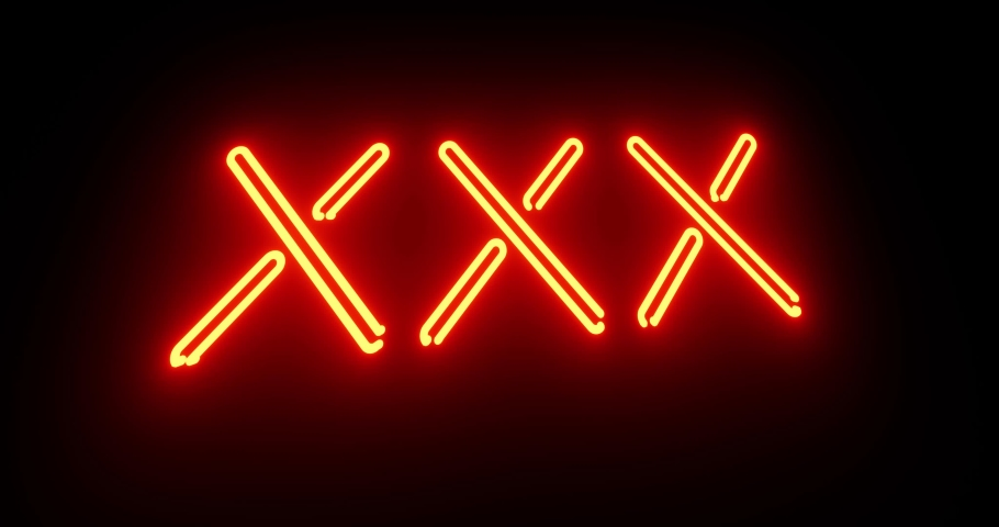 Neon sex sign as illuminated advertising for nightclub or massage. Glowing text message or fluorescent signage for love - 4k   Shutterstock HD Video #1042323727