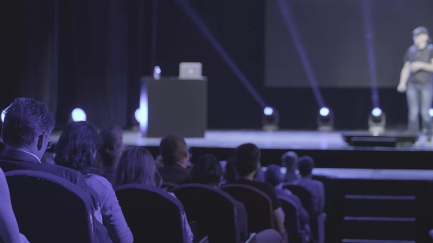 Audience listens male speaker at workshop in conference hall   Shutterstock HD Video #1042371487