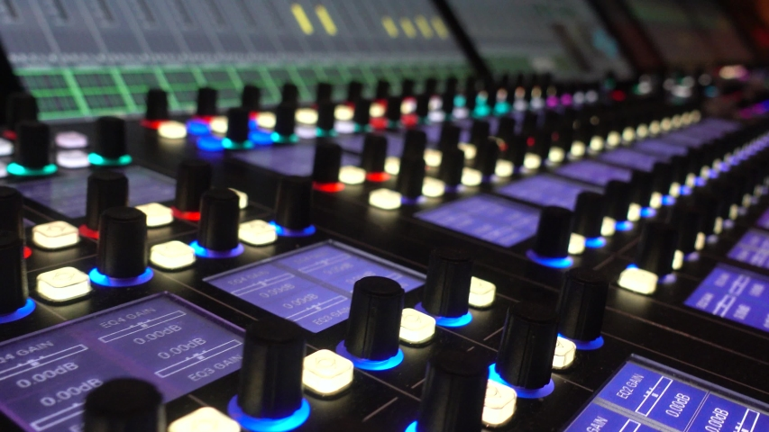 Professional recording studio with big mixing console. Panel, producer. | Shutterstock HD Video #1042569517
