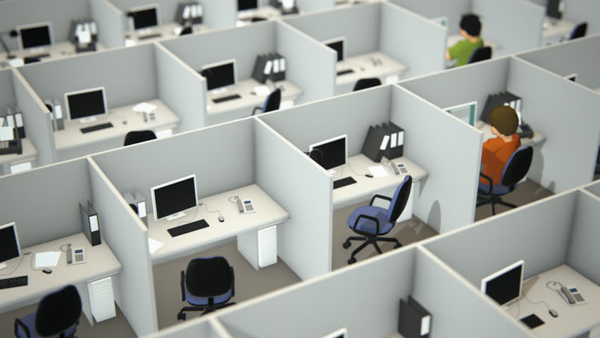 02310 High Angle View Of Working Employees In Cubicles With Chairs And Computers Office Stock Footage Video 10426787 Shutterstock