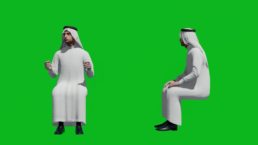 Arabic man in sitting pose , front view and side view, realistic 3D people rendering isolated on green screen. | Shutterstock HD Video #1042740547