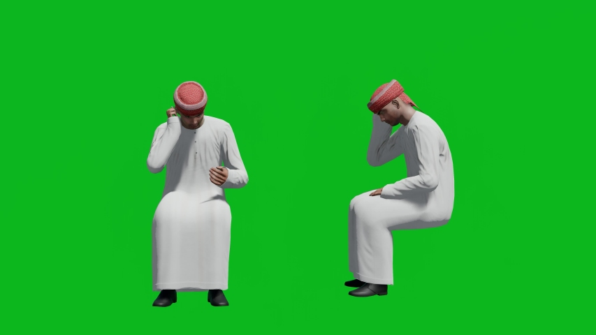 Arabic man sitting pose and talking on the phone in front view and side view, realistic 3D people rendering isolated on green screen. | Shutterstock HD Video #1042740577