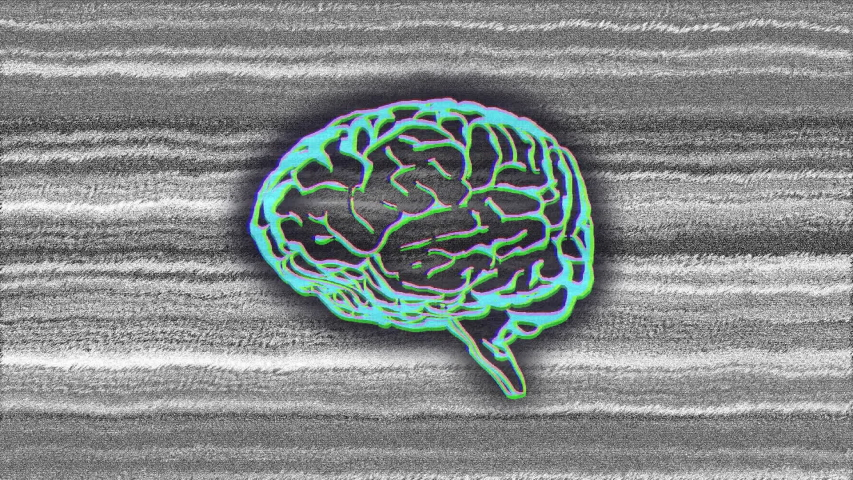 Animation of green glowing human brain on grey flickering striped background | Shutterstock HD Video #1042784137