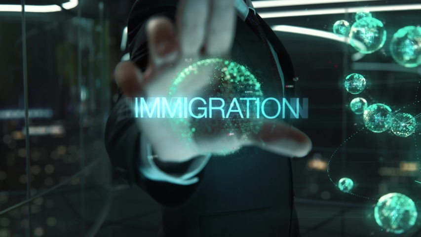 Businessman with Immigration hologram concept | Shutterstock HD Video #1042784947