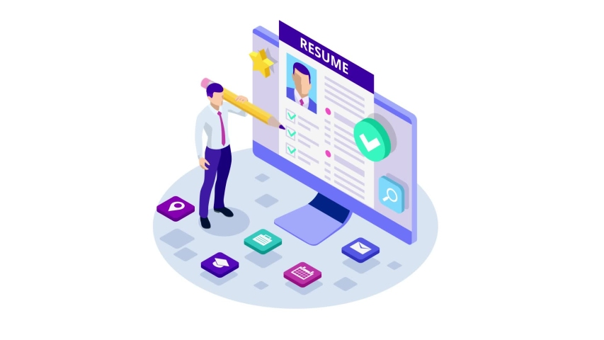 Isometric man and cv resume documents. Recruiting advertisement, Job opportunity. Searching professional staff, work, analyzing resume, documents. HD Video.   Shutterstock HD Video #1042797787