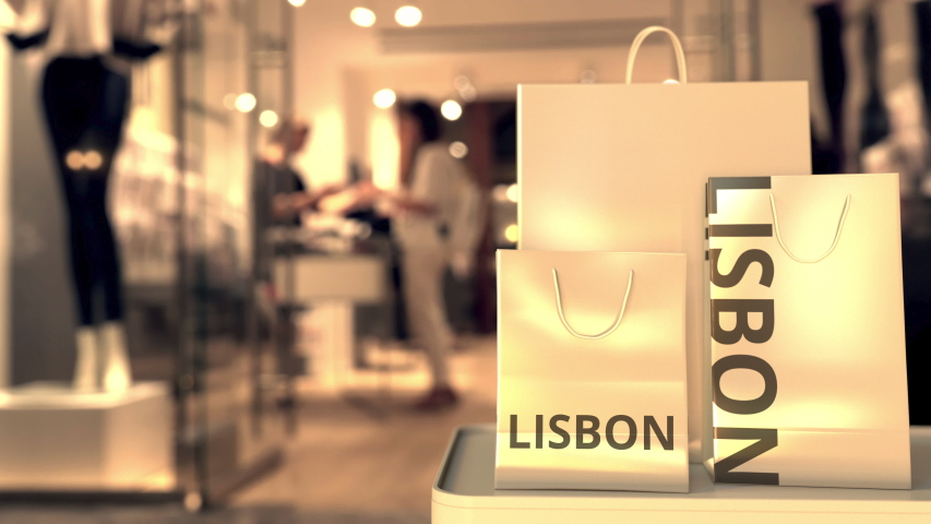 Bags with Lisbon text. Shopping in Portugal related conceptual 3D animation | Shutterstock HD Video #1042800757