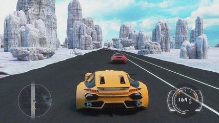 Speed Rasing 3d Video Game With Interface. Sports Cars Compete On The Road In Winter. Gameplay Screen.