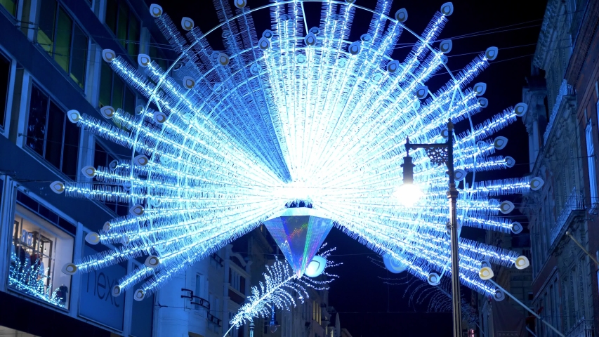 Christmas lights at Bond Street London - LONDON, UNITED KINGDOM - DECEMBER 10, 2019   Shutterstock HD Video #1042991797