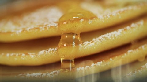 Close up, Honey dripping down a pancake stack