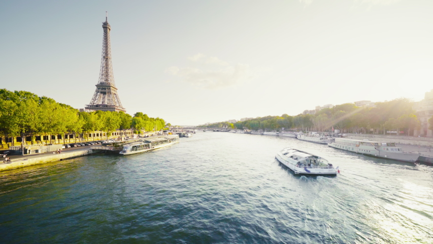 Eiffel tower and sunny morning, Paris, France | Shutterstock HD Video #1044513157