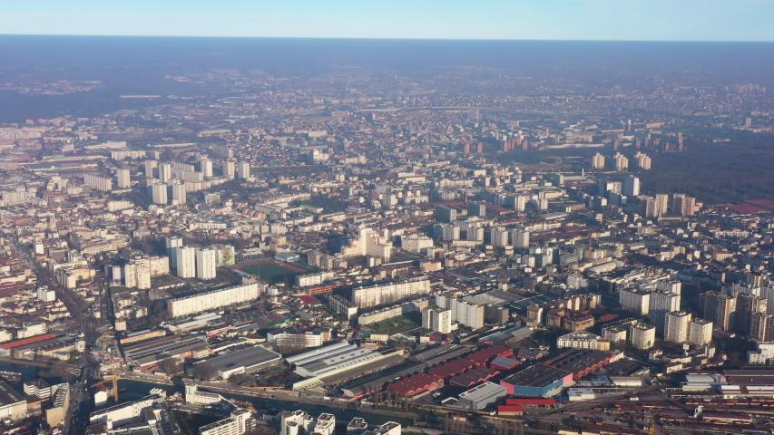 Pantin neighbourhood aerial shot France Paris pollution greenhouse gas | Shutterstock HD Video #1044661657
