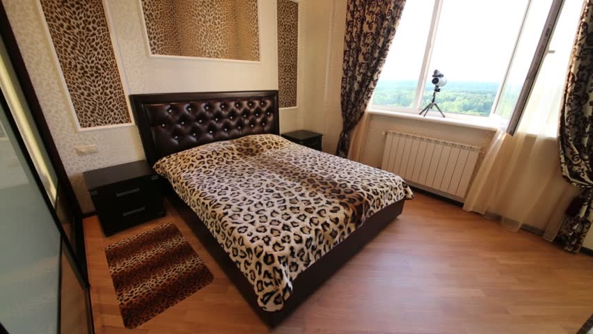 Modern Bedroom With Leopard Print On Walls And Double Bed   HD Stock Video  Clip