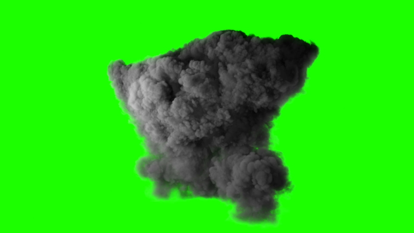 Realistic fireball explosion with huge smoke blast 3d animation isolated on green screen vfx action element powerful massive gasoline detonation with flame and smoke puff alpha channel included | Shutterstock HD Video #1044805417
