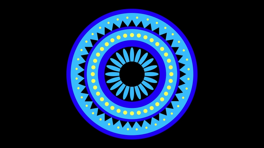 Colored graphic object with floral motif, which rotates clockwise in the center on a minimal black background, of variable dimensions with a hypnotic, psychedelic and stroboscopic effect. | Shutterstock HD Video #1044822337