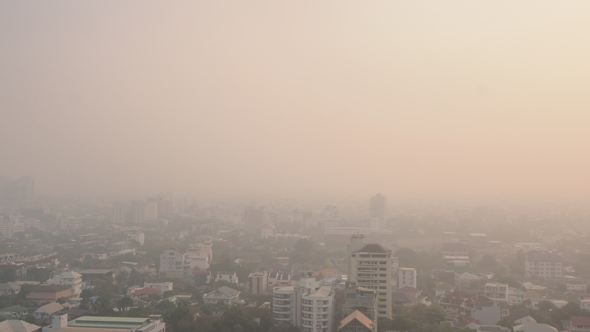 Cityscape of Bangkok covered by mixture of dust in air pollution, situation of air pollution 2.5 pm in Bangkok, Air pollution in big city,  it is unhealthy. | Shutterstock HD Video #1044994567