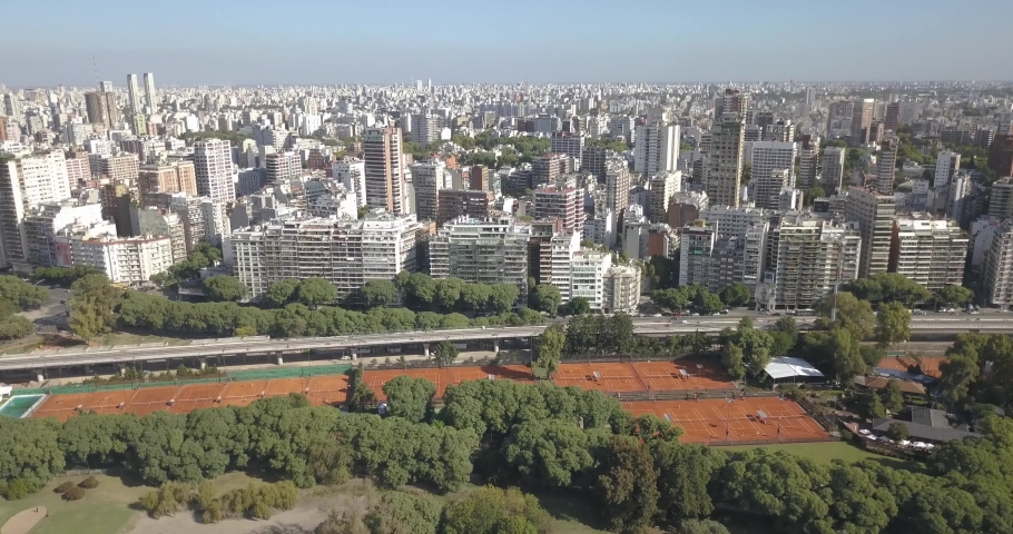 Aerial view of the city with the tennis courts , Buenos Aires, Argentina. | Shutterstock HD Video #1045026487