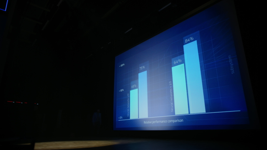 Tech Conference Stage: Speaker Talks about Product. Neural Networks, Artificial Intelligence, Big Data and Machine Learning. Screen Shows Infographics, Statistics. Live Startup Business Event | Shutterstock HD Video #1045096567