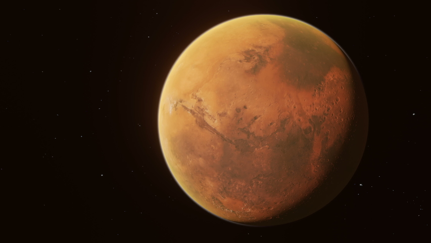 Fly through in space from Earth to Mars.