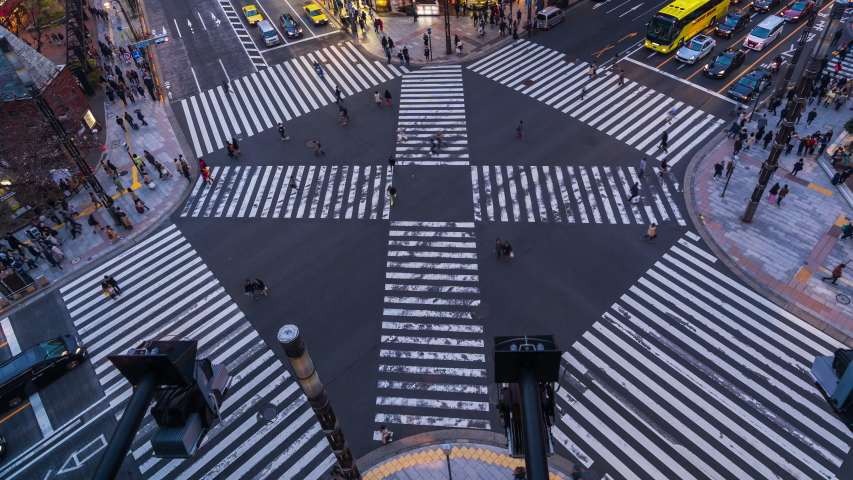 Time lapse of busy intersection in Ginza, Tokyo, Japan. | Shutterstock HD Video #1045179307