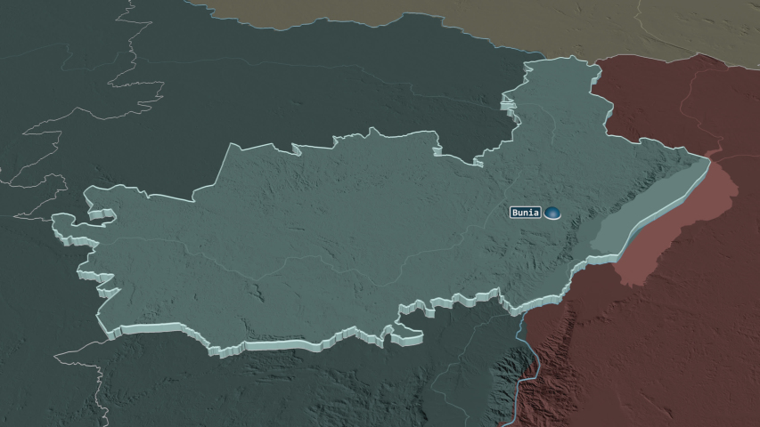 Ituri, province with its capital, zoomed and extruded on the administrative map of Congo Kinshasa in the conformal Stereographic projection | Shutterstock HD Video #1045352587