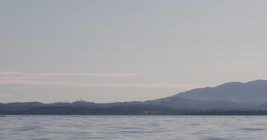 Pan over lake Chiemsee with island Fraueninsel | Shutterstock HD Video #1045450897