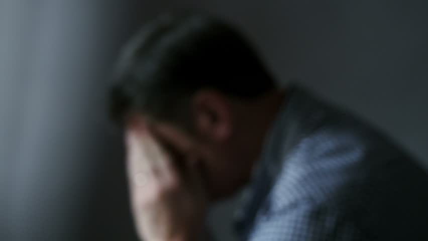 Worried, anxious man, out of focus 4k, UHD