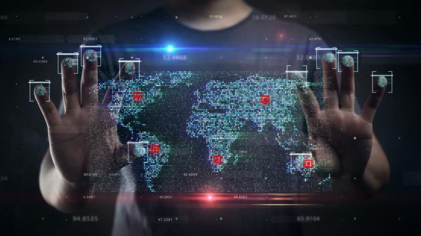 Man Scanning Ten Fingers to Digital Screen Revealing World Map Data. HUD Hologram    Shutterstock HD Video #1045528237
