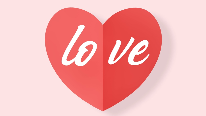 Heart shaped flip page animation with Love title | Shutterstock HD Video #1046258347