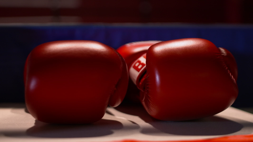 A panning extreme closeup shot of red boxing gloves and trophies upon a table | Shutterstock HD Video #1046291047